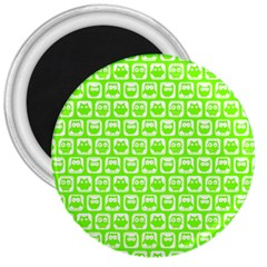 Lime Green And White Owl Pattern 3  Magnets by creativemom