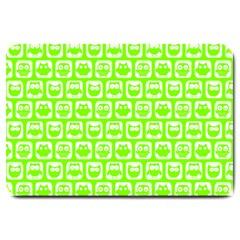 Lime Green And White Owl Pattern Large Doormat  by creativemom