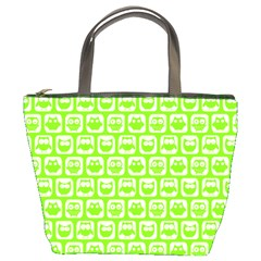 Lime Green And White Owl Pattern Bucket Bags by creativemom