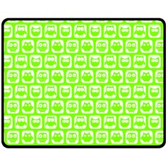 Lime Green And White Owl Pattern Fleece Blanket (medium)  by creativemom
