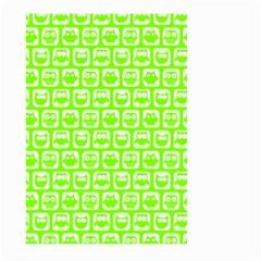 Lime Green And White Owl Pattern Large Garden Flag (two Sides) by creativemom