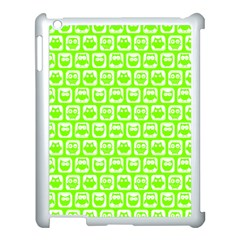 Lime Green And White Owl Pattern Apple Ipad 3/4 Case (white) by creativemom
