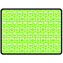 Lime Green And White Owl Pattern Double Sided Fleece Blanket (large)  by creativemom