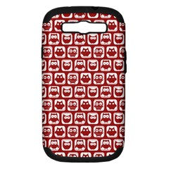 Red And White Owl Pattern Samsung Galaxy S III Hardshell Case (PC+Silicone) by creativemom