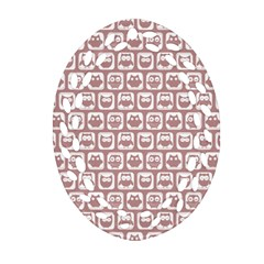 Light Pink And White Owl Pattern Ornament (oval Filigree)  by creativemom