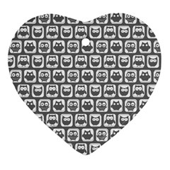 Gray And White Owl Pattern Heart Ornament (2 Sides) by creativemom