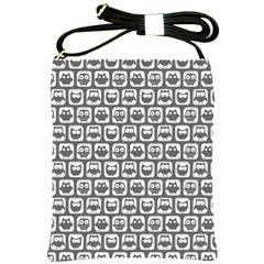 Gray And White Owl Pattern Shoulder Sling Bags by creativemom