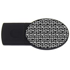Black And White Owl Pattern Usb Flash Drive Oval (2 Gb)  by creativemom