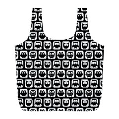 Black And White Owl Pattern Full Print Recycle Bags (l)  by creativemom