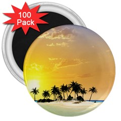 Beautiful Island In The Sunset 3  Magnets (100 Pack) by FantasyWorld7