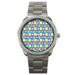 Colorful Whimsical Owl Pattern Sport Metal Watches by creativemom