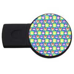 Colorful Whimsical Owl Pattern Usb Flash Drive Round (4 Gb)  by creativemom