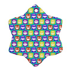 Colorful Whimsical Owl Pattern Ornament (snowflake)  by creativemom