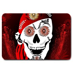 Funny Happy Skull Large Doormat  by FantasyWorld7