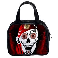 Funny Happy Skull Classic Handbags (2 Sides) by FantasyWorld7