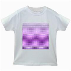 Purple Gradient Chevron Kids White T Shirts by CraftyLittleNodes