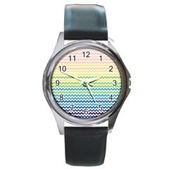Pastel Gradient Rainbow Chevron Round Metal Watches by CraftyLittleNodes