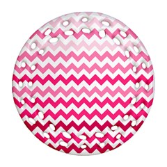 Pink Gradient Chevron Large Round Filigree Ornament (2side) by CraftyLittleNodes