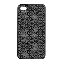 Silver Damask With Black Background Apple Iphone 4/4s Seamless Case (black) by CraftyLittleNodes