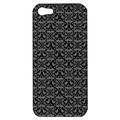 Silver Damask With Black Background Apple Iphone 5 Hardshell Case by CraftyLittleNodes
