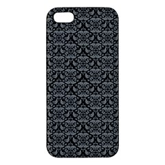 Silver Damask With Black Background Apple Iphone 5 Premium Hardshell Case by CraftyLittleNodes