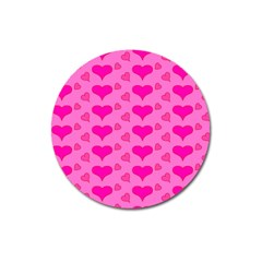 Hearts Pink Magnet 3  (round) by MoreColorsinLife