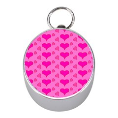 Hearts Pink Mini Silver Compasses by MoreColorsinLife