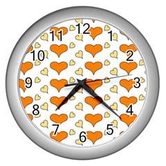 Hearts Orange Wall Clocks (silver)  by MoreColorsinLife