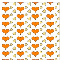 Hearts Orange Large Satin Scarf (square)