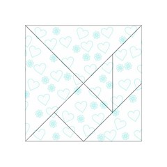 Flowers And Hearts Acrylic Tangram Puzzle (4  x 4 ) by MoreColorsinLife
