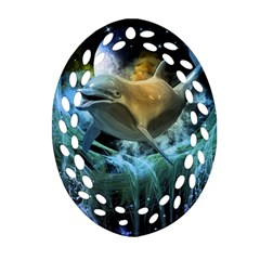 Funny Dolphin In The Universe Ornament (oval Filigree)  by FantasyWorld7