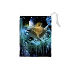 Funny Dolphin In The Universe Drawstring Pouches (Small)  by FantasyWorld7