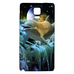 Funny Dolphin In The Universe Galaxy Note 4 Back Case by FantasyWorld7