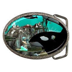Cute Mermaid Playing With Orca Belt Buckles by FantasyWorld7