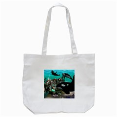 Cute Mermaid Playing With Orca Tote Bag (white)  by FantasyWorld7