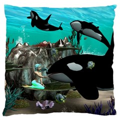 Cute Mermaid Playing With Orca Large Flano Cushion Cases (one Side)  by FantasyWorld7