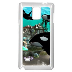 Cute Mermaid Playing With Orca Samsung Galaxy Note 4 Case (White) by FantasyWorld7