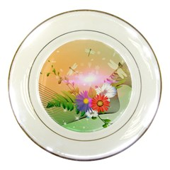 Wonderful Colorful Flowers With Dragonflies Porcelain Plates by FantasyWorld7
