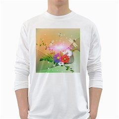 Wonderful Colorful Flowers With Dragonflies White Long Sleeve T Shirts by FantasyWorld7