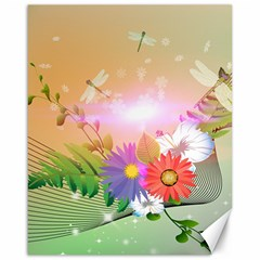 Wonderful Colorful Flowers With Dragonflies Canvas 16  x 20   by FantasyWorld7