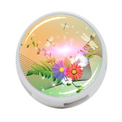 Wonderful Colorful Flowers With Dragonflies 4-Port USB Hub (One Side) by FantasyWorld7