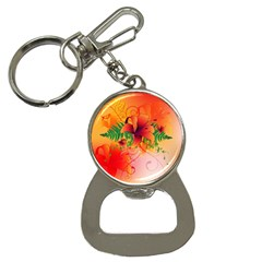 Awesome Red Flowers With Leaves Bottle Opener Key Chains by FantasyWorld7