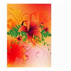 Awesome Red Flowers With Leaves Small Garden Flag (two Sides) by FantasyWorld7