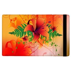 Awesome Red Flowers With Leaves Apple iPad 2 Flip Case by FantasyWorld7