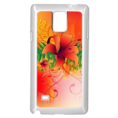 Awesome Red Flowers With Leaves Samsung Galaxy Note 4 Case (white) by FantasyWorld7