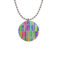 Colorful Vintage Stripes 1  Button Necklace by LalyLauraFLM