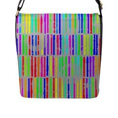 Colorful Vintage Stripes Flap Closure Messenger Bag (l) by LalyLauraFLM