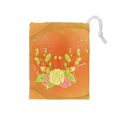 Beautiful Flowers In Soft Colors Drawstring Pouches (Medium)  by FantasyWorld7