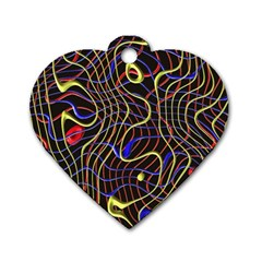 Ribbon Chaos 2 Black  Dog Tag Heart (One Side) by ImpressiveMoments