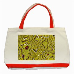 Ribbon Chaos 2 Yellow Classic Tote Bag (Red)  by ImpressiveMoments